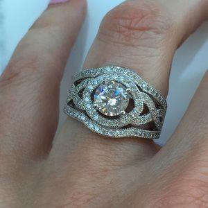 Jewelry - 14k white gold ring engagement wedding 2.5 ct